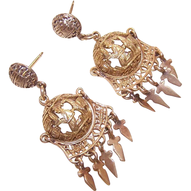 VINTAGE 18K Gold Drop Earrings From Peru - Gent with Llama Design!
