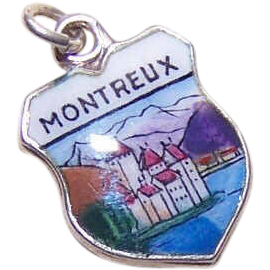 Vintage European 800 Silver & Enamel Travel Shield Charm - Montreux