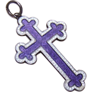 English C.1916 JA&S Sterling Silver and Enamel Cross Pendant!