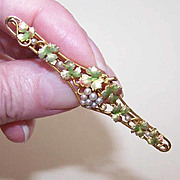 Alling & Co ART NOUVEAU 14K Gold, Enamel & Natural Pearl Bar Pin/Brooch!