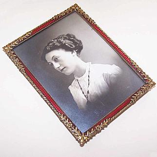 ART NOUVEAU Gilt Bronze & Red Enamel Picture Frame in Original Travel Case!