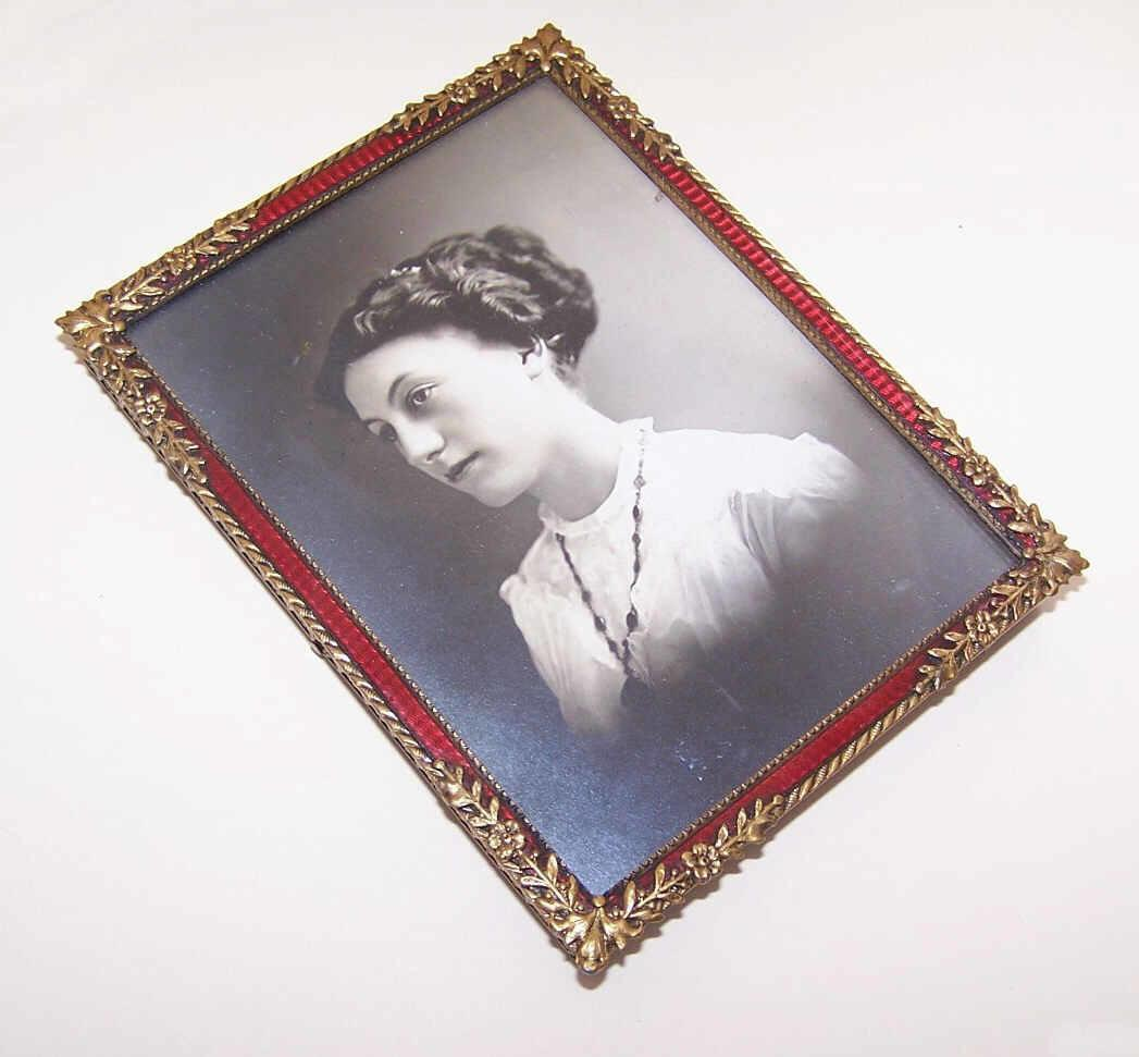 ART NOUVEAU Gilt Bronze & Red Enamel Picture Frame in Original Travel Case!