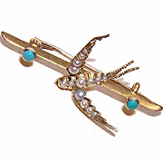 "ANTIQUE EDWARDIAN 14K Gold, Natural Pearl & Persian Turquoise ""Swallow"" Pin/Brooch!"