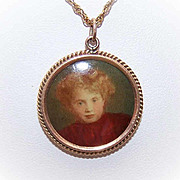 ANTIQUE EDWARDIAN 14K Gold Picture Pendant or Locket with Original Celluoid Picture!