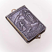 Religious FRENCH Book Locket Pendant with Pictures - Saint Bernadette & Virgin Mary Cover!