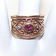 ETRUSCAN REVIVAL 14K Gold, Tourmaline & Diamond Wide Band Ring!