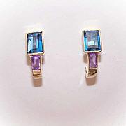 Estate 14K Gold, Amethyst & Blue Topaz Half Hoop Earrings!