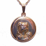 ART NOUVEAU 14K Gold & Diamond Locket Pendant - Lovely Lady Front!