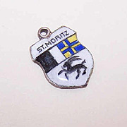 Vintage European 800 Silver & Enamel Travel Shield Charm - St. Moritz!