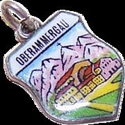 Vintage European 800 Silver & Enamel Travel Shield Charm - Oberammergau!