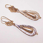 Swinging VICTORIAN REVIVAL 14K Rose Gold Drop Earrings!
