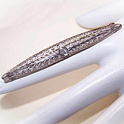 ANTIQUE EDWARDIAN 14K Gold & .10CT Diamond Filigree Bar Pin/Brooch!