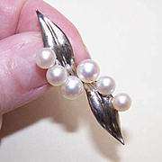 Vintage STERLING SILVER & 5mm/6mm Cultured Pearl Pin/Brooch!