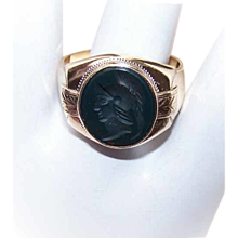 ANTIQUE EDWARDIAN 10K Gold & Bloodstone Intaglio Ring for a Gent!