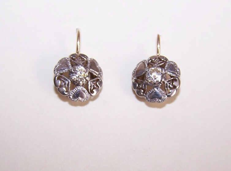 Vintage 9K Gold, 800/900 Silver & Rhinestone Paste Earrings!