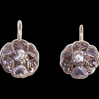 Vintage 9K Gold, 800/900 Silver & Glass Paste Earrings for Pierced Ears