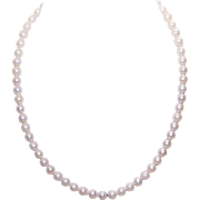 Vintage 6mm Cultured Pearl Necklace with 14K White Gold Clasp!