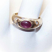 ESTATE 14K Gold, 1.16CT TW Cab Ruby & Diamond Fashion Ring!