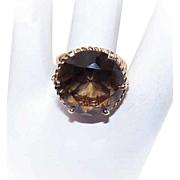 Vintage 10K Gold & SMOKY QUARTZ Fashion Ring!