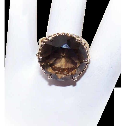 Vintage 10K Gold & SMOKY QUARTZ Fashion Ring!