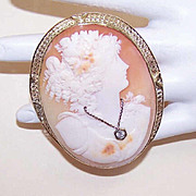 Huge ART DECO Cornelian Shell Cameo Pin/Pendant Combo in 14K Gold - Lady Wearing Diamond Necklace!