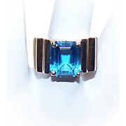 Stunning RETRO MODERN 14K Gold & Blue Topaz Fashion Ring!