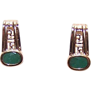 ESTATE 10K Gold & Faceted 1CT TW Emerald Half Hoop Earrings!