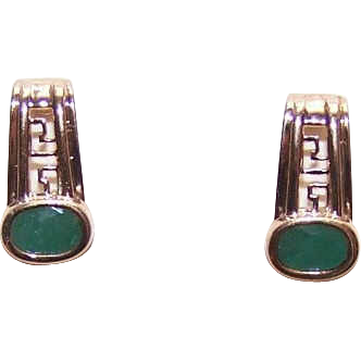 ESTATE 10K Gold & Faceted 1CT TW Natural Emerald Half Hoop Earrings!
