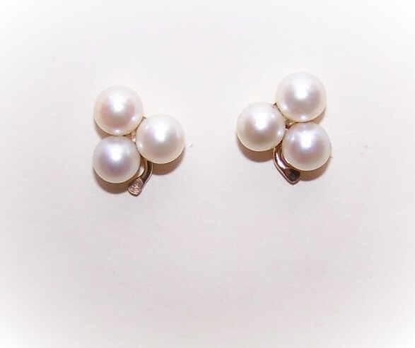 "Vintage 14K Gold & 6mm Cultured Pearl ""Shamrock"" Earrings!"