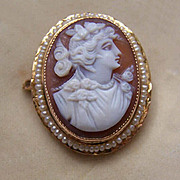 ANTIQUE EDWARDIAN 10K Gold, Cornelian Shell Cameo & Natural Seed Pearl Pin/Pendant Combo!