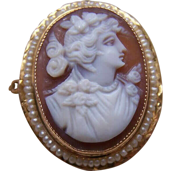 ART DECO 10K Gold, Cornelian Shell Cameo & Natural Seed Pearl Pin/Pendant Combo!