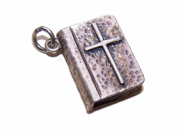 Vintage STERLING SILVER Religious Charm - The Good Book: The Holy Bible!