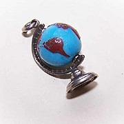 Vintage STERLING SILVER Charm - Revolving Hard Plastic Globe of the World!