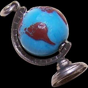 Vintage STERLING SILVER Charm - Revolving Hard Plastic Globe of the World!