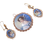 Vintage 14K Gold & Hand Painted Portrait Set - Pendant/Pin/Brooch & Earrings!