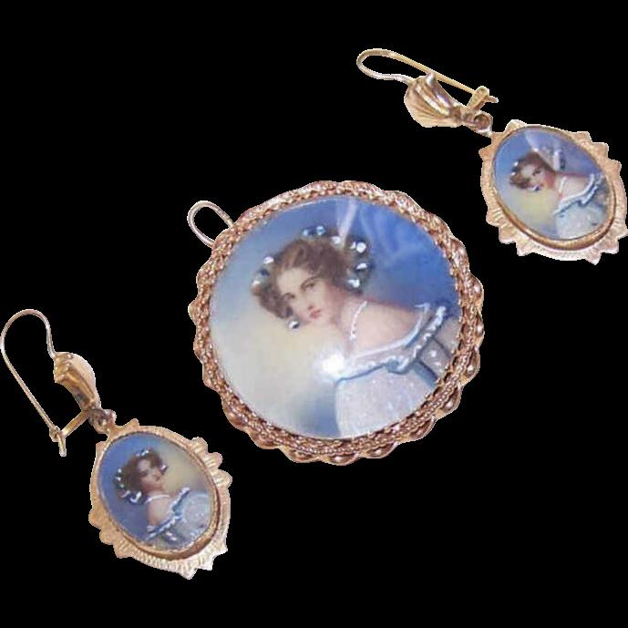 Vintage 14K Gold & Hand Painted Portrait Set - Pendant/Pin/Brooch & Earrings!