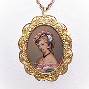 Vintage ITALIAN 18K Gold, Diamond & Handpainted Portrait Miniature Pin/Pendant Combo!