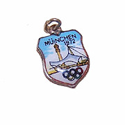 Vintage 800 Silver and Enamel Travel Shield Charm - Munich 1972 Olympics!