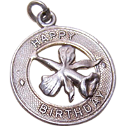 Vintage STERLING SILVER Disc Charm - Happy Birthday with Orchid!