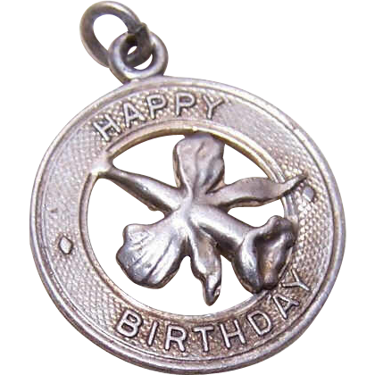 Vintage STERLING SILVER Disc Charm with Orchid - Happy Birthday