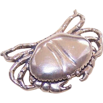 Highly Detailed STERLING SILVER Charm - Crab!