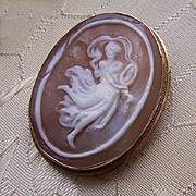Vintage 14K Gold & Cornelian Shell Cameo Pin/Pendant Combo - Dancing Lady