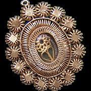 French NAPOLEON III Silver Gilt Religious Pendant or Reliquary