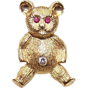 ESTATE 18K Gold, Diamond & Ruby Pin/Brooch or a Teddy Bear!