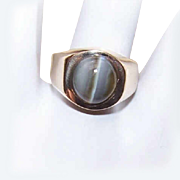 Vintage ESTATE 14K Gold & Grey Catseye/Cats Eye Ring!