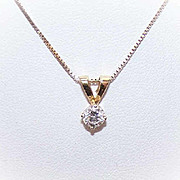 Vintage 14K Gold & .41CT DIAMOND Pendant on Chain (Necklace)!