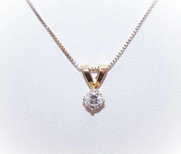 Vintage .41CT DIAMOND Pendant - 14K Gold Setting!