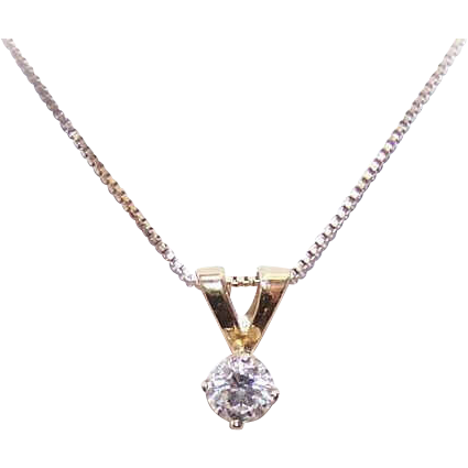 Vintage .41CT DIAMOND Pendant - 14K Gold Setting!