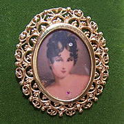 Vintage ITALIAN 14K Gold Pin/Pendant Combo with Lithographed Portrait Miniature!