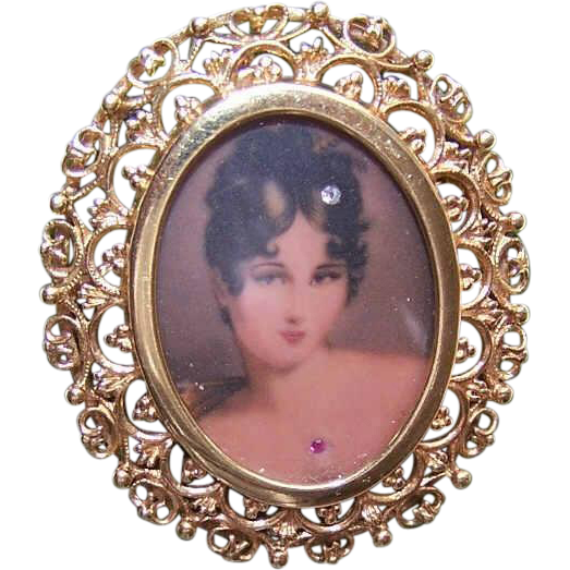 Vintage ITALIAN 14K Gold Pin or Pendant - Lithographed Portrait Miniature - Lady Cameo